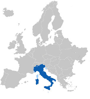The geographic distribution of the Italian language in Europe.